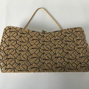 Vintage Bags - Luxurious Gold Thread Embroidered Sleek Handbag